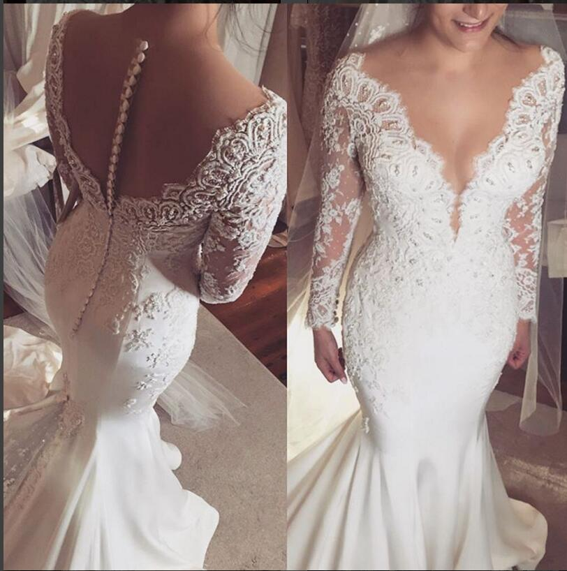 2016 Arabic Lace Beaded Wedding Dresses Long Sleeves Sheer Neck